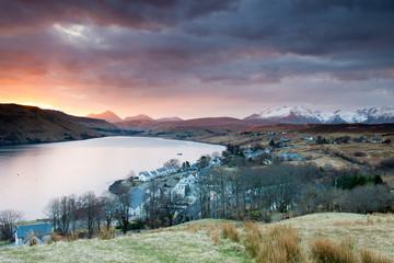 Loch Harport and the Black Cuillins range at sunrise ,Scotland