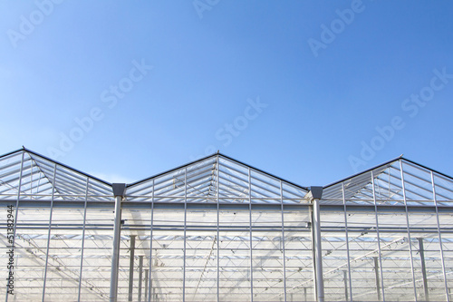 Greehouse with blue sky