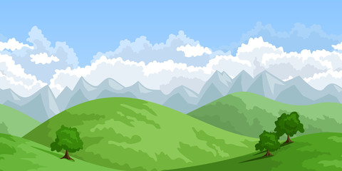 Horizontal seamless summer landscape. Vector illustration.