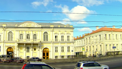 Facade of building in Petersburg. Universitetskaya Embankment.