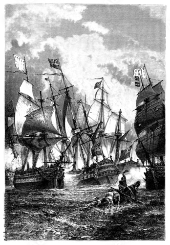 "Naval Battle - Victorious Ship ""Le Héros"" - 18th century"
