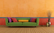 Green red and orange living room