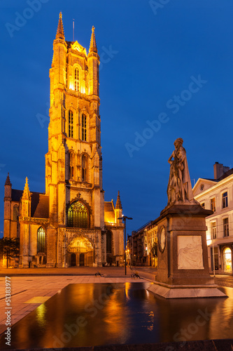 Saint Bavo Cathedral in the evening. Sint-Baafsplein, Ghent, Bel