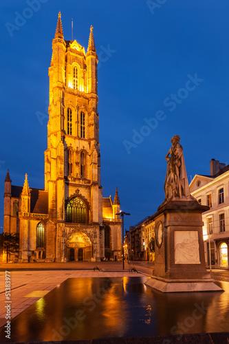 Saint Bavo Cathedral in the evening. Sint-Baafsplein, Ghent, Bel