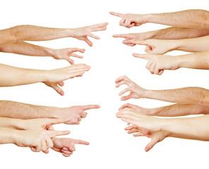Viele Hände in Konkurrenz zueinander