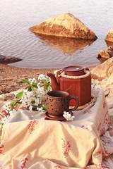 Morning tea ceremony on the beach