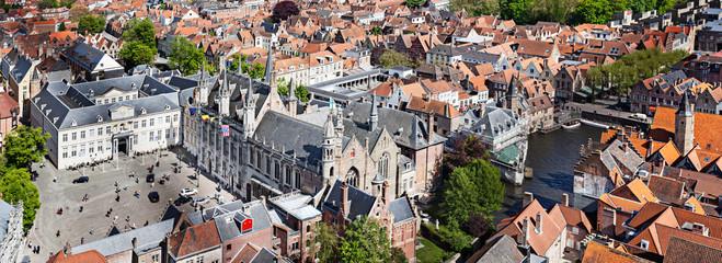 Panorama of aerial view of Bruges (Brugge), Belgium