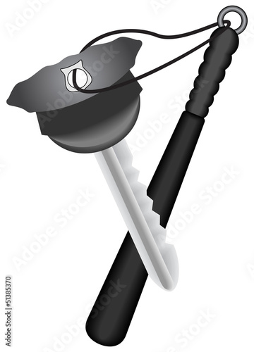 Pt-Key in the police cap form with keychain as baton
