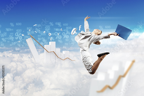 Image of jumping businesswoman