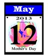 2013 mother's day calendar date icon