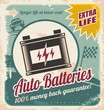 Auto batteries vintage poster design