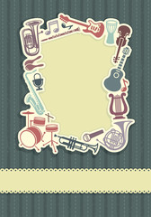 Background with a framework from musical instruments