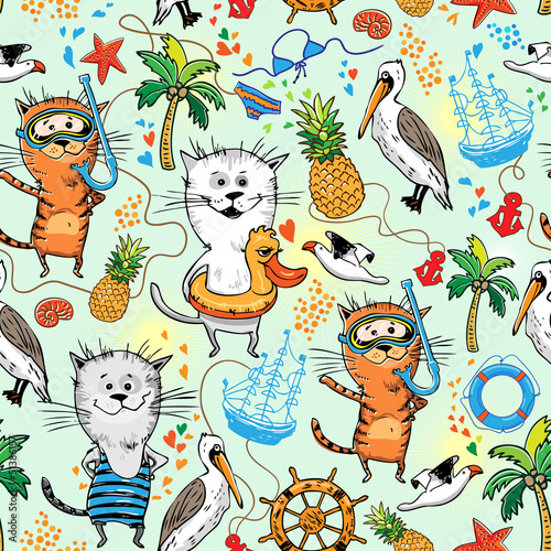 summer sea pattern with cats and pelican