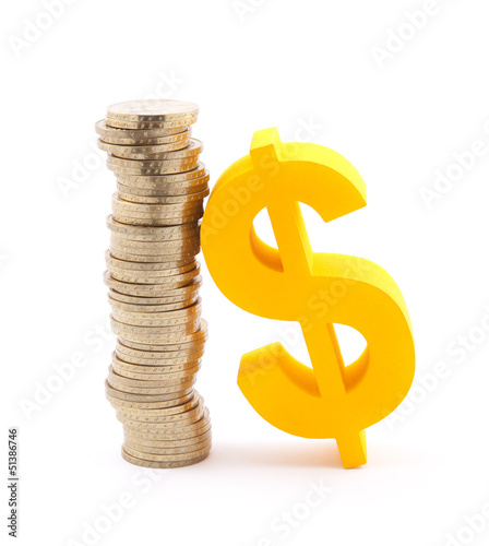 Stack of gold coins and dollar symbol