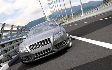 luxury sport sedan car on a bridge 3d rendering