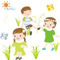 初夏 スズラン お花摘み 子供たち 蝶