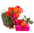 bunch of roses with  present box