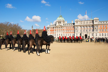 Military parade with horses