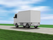 Delivery Van on the Asphalted Road with Motion Blur