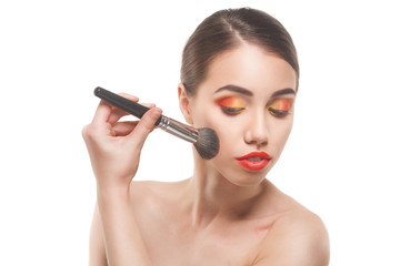 woman with and red lips, making make-up