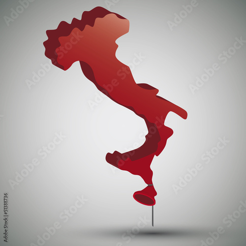 map of Italy in form of a balloon