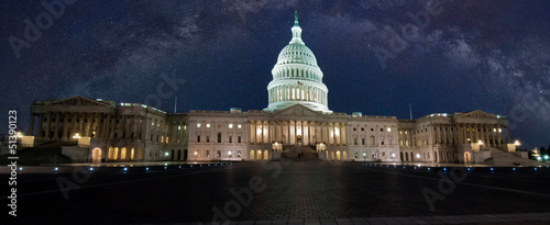 capitol building with milky way sky