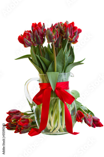 spring tulip flowers in vase