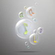 Vector Illustration of Shiny Bubbles with Music Notes