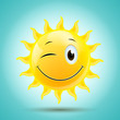 Vector Illustration of an Abstract Smiling Sun