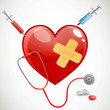 Vector Medical Background with Heart and Stethoscope