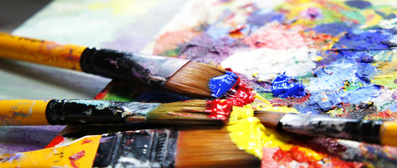 Vivid strokes and paintbrushes