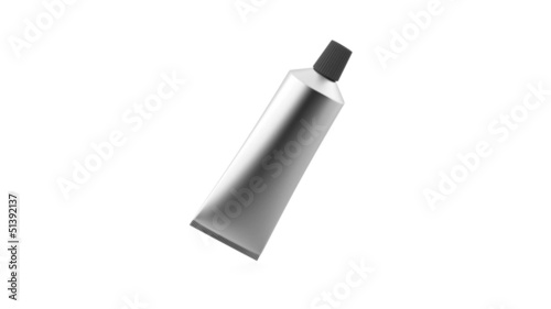 Silver tube for cream or gel, rotates on white background