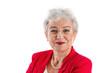 Gesicht einer älteren Frau grauhaarig - isoliert in Rot