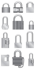 Image isolated padlocks of steel