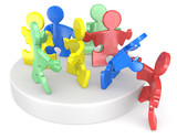 Diversity.Puzzle People helping new people to join. Multi Color.