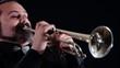 trumpet player, close up