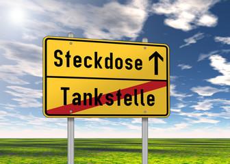 "Ortsschild ""Steckdose / Tankstelle"""