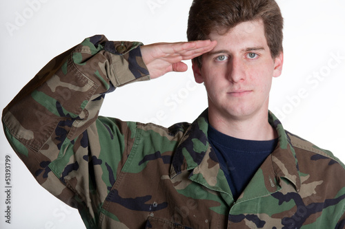 young soldier saluting