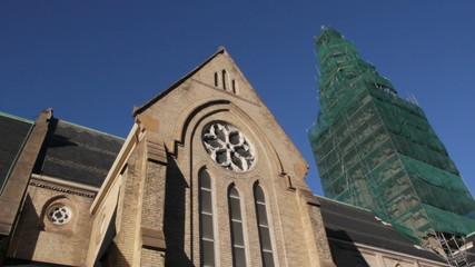 Church tower renovations. 2 shots. Toronto.