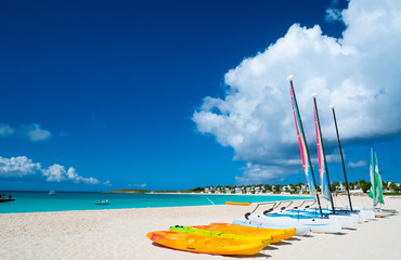Catamarans on tropical beach