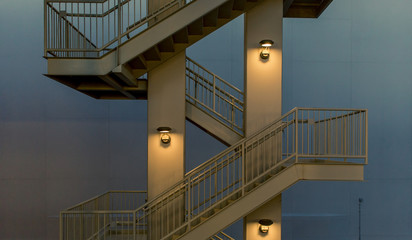 Modern emergency exit staircase at dusk