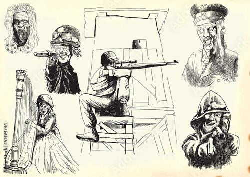 Staande foto Imagination weapons, para-monsters - hand drawings into vectors