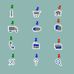 Online shopping icons collage pins