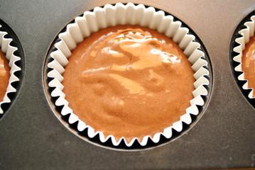 Raw Chocolate Cupcake in a Baking Tin