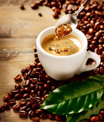 Coffee Espresso. Cup Of Coffee and Brown Sugar