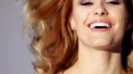 Happy Woman Portrait in Slow Motion Footage