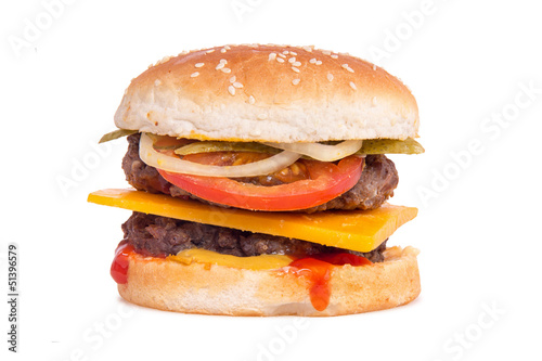 double cheeseburger on white background