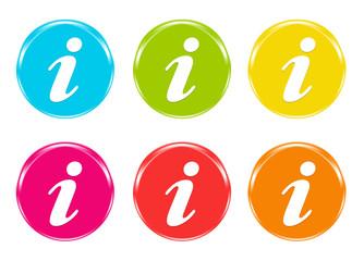 Iconos de colores con símbolo de Información