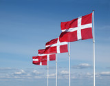 four flapping danish flags