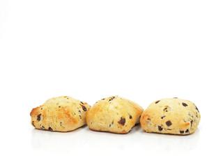 three chocolate chip scones